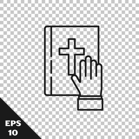 Black line Oath on the Holy Bible icon isolated on transparent background. The procedure in court. Truth and truth. Promise before god. Vector Illustration