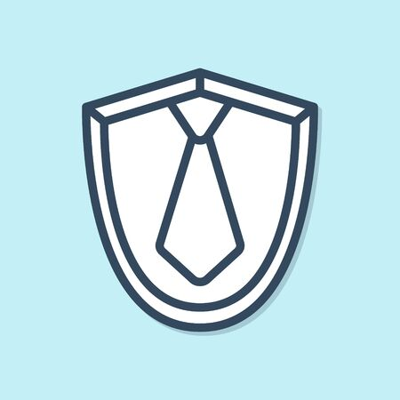 Blue line Tie icon isolated on blue background. Necktie and neckcloth symbol. Vector Illustration