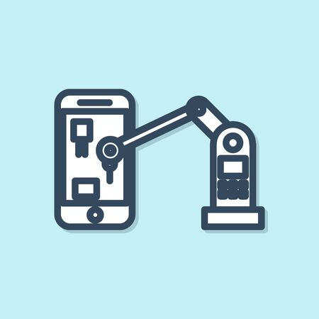 Blue line Industrial machine robotic robot arm hand on mobile phone factory icon isolated on blue background. Industrial robot manipulator. Vector Illustration