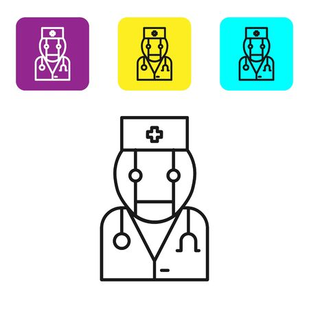 Black line Robot doctor icon isolated on white background. Medical online consultation robotic silhouette artificial intelligence. Set icons colorful square buttons. Vector Illustration