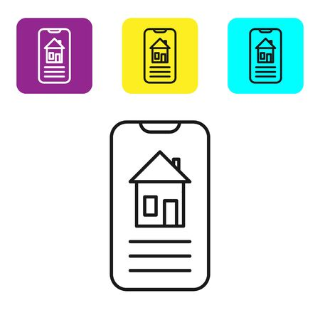Black line Smart home icon isolated on white background. Remote control. Set icons colorful square buttons. Vector Illustration