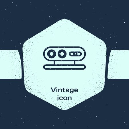 Grunge line 3d scanning system icon isolated on blue background. Monochrome vintage drawing. Vector Illustration