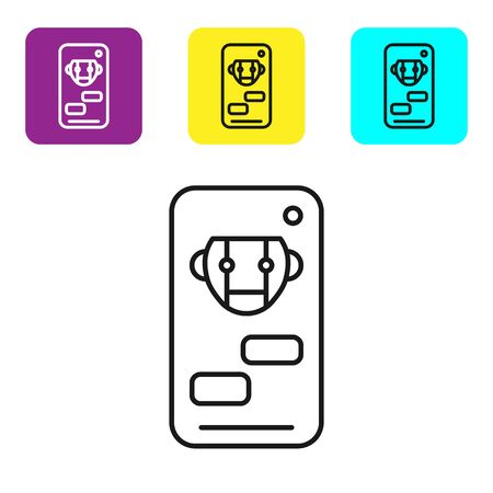 Black line Bot icon isolated on white background. Robot icon. Set icons colorful square buttons. Vector Illustration