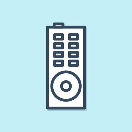 Blue line Remote control icon isolated on blue background. Vector Illustration