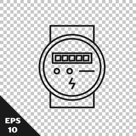 Black line Electric meter icon isolated on transparent background. Vector Illustration