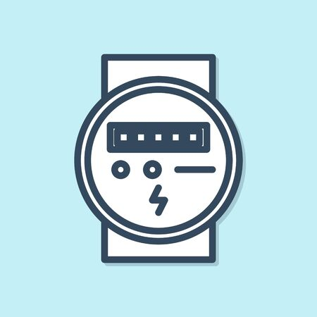 Blue line Electric meter icon isolated on blue background. Vector Illustration