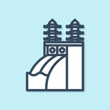 Blue line Nuclear power plant icon isolated on blue background. Energy industrial concept. Vector Illustration