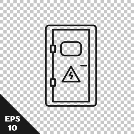 Black line Electrical cabinet icon isolated on transparent background. Vector Illustration