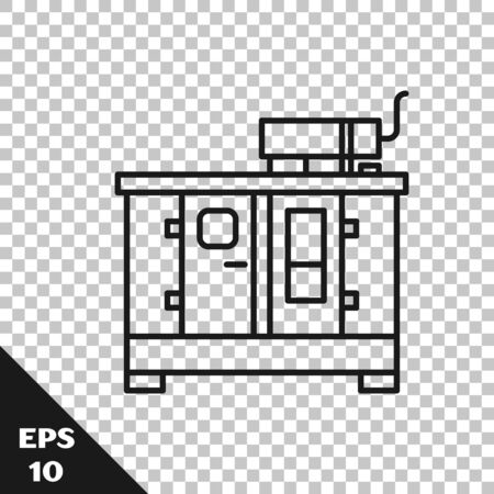 Black line Diesel power generator icon isolated on transparent background. Industrial and home immovable power generator. Vector Illustration
