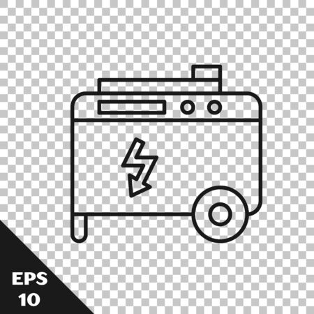 Black line Portable power electric generator icon isolated on transparent background. Industrial and home immovable power generator. Vector Illustration Векторная Иллюстрация