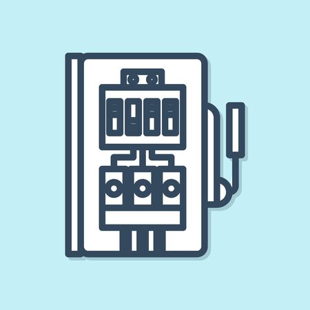 Blue line Electrical panel icon isolated on blue background. Vector Illustration