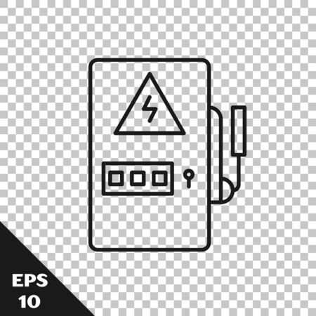 Black line Electrical panel icon isolated on transparent background. Vector Illustration Çizim