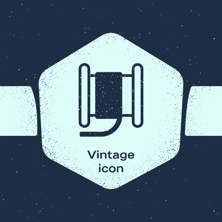 Grunge line Wire electric cable on a reel or drum icon isolated on blue background. Monochrome vintage drawing. Vector Illustration Ilustração