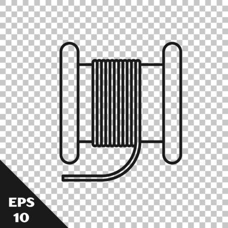 Black line Wire electric cable on a reel or drum icon isolated on transparent background. Vector Illustration