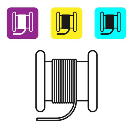 Black line Wire electric cable on a reel or drum icon isolated on white background. Set icons colorful square buttons. Vector Illustration Ilustração
