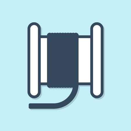 Blue line Wire electric cable on a reel or drum icon isolated on blue background. Vector Illustration