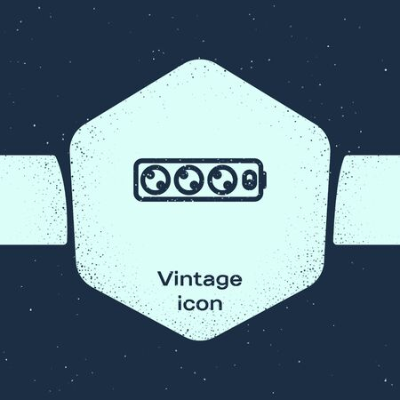 Grunge line Electric extension cord icon isolated on blue background. Power plug socket. Monochrome vintage drawing. Vector Illustration