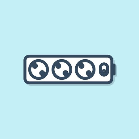 Blue line Electric extension cord icon isolated on blue background. Power plug socket. Vector Illustration Vettoriali