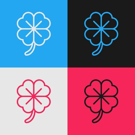 Color line Four leaf clover icon isolated on color background. Happy Saint Patrick day. Vintage style drawing. Vector Illustration
