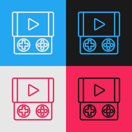 Color line Portable video game console icon isolated on color background. Gamepad sign. Gaming concept. Vintage style drawing. Vector Illustration