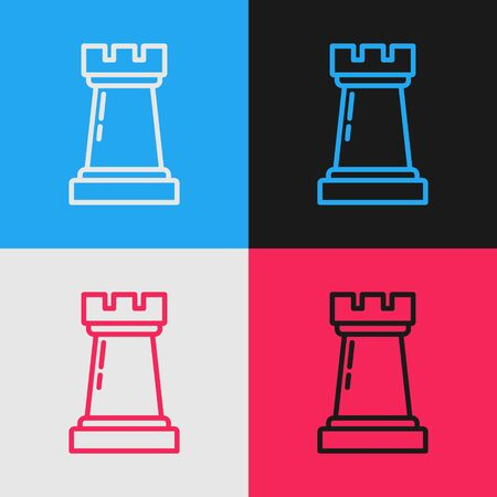 Color line Business strategy icon isolated on color background. Chess symbol. Game, management, finance. Vintage style drawing. Vector Illustration