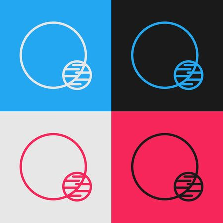 Color line Planet icon isolated on color background. Vintage style drawing. Vector Illustration Vector Illustration