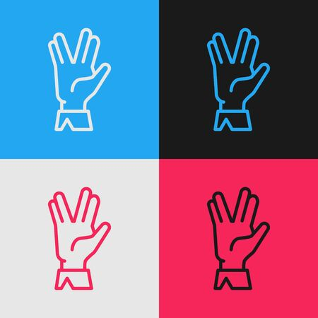 Color line Vulcan salute icon isolated on color background. Hand with vulcan greet. Spock symbol. Vintage style drawing. Vector Illustration