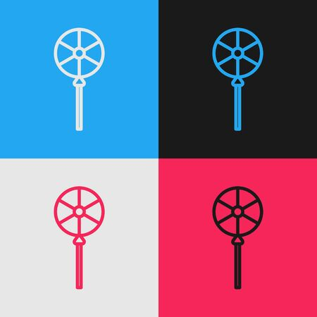 Color line Lollipop icon isolated on color background. Food, delicious symbol. Vintage style drawing. Vector Illustration