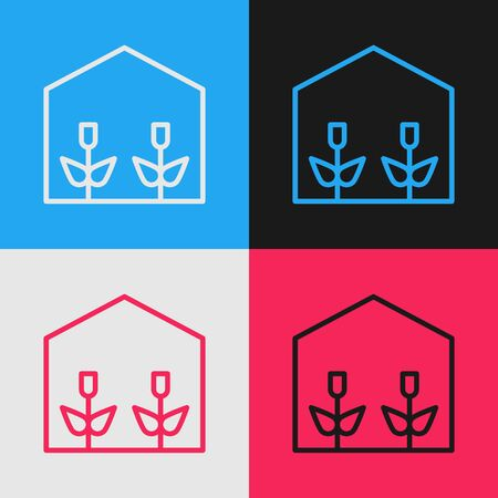 Color line Home greenhouse and plants icon isolated on color background. Vintage style drawing. Vector Illustration Stock Illustratie