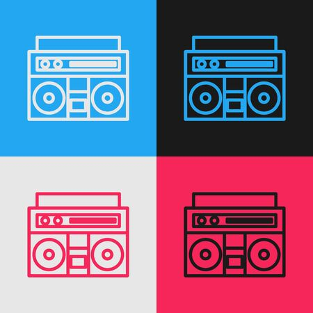 Color line Home stereo with two speakers icon isolated on color background. Music system. Vintage style drawing. Vector Illustration