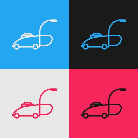 Color line Lawn mower icon isolated on color background. Lawn mower cutting grass. Vintage style drawing. Vector Illustration Vektorové ilustrace