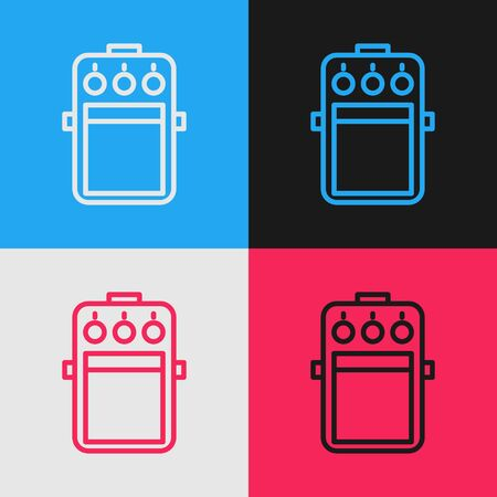 Color line Guitar pedal icon isolated on color background. Musical equipment. Vintage style drawing. Vector Illustration