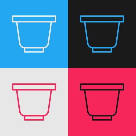 Color line Flower pot icon isolated on color background. Vintage style drawing. Vector Illustration