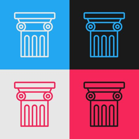 Color line Law pillar icon isolated on color background. Vintage style drawing. Vector Illustration Archivio Fotografico - 136950569