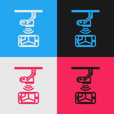 Color line Wireless Controlling CCTV security camera with smartphone icon isolated on color background. IOT Concept and remote home appliance. Vintage style drawing. Vector Illustration