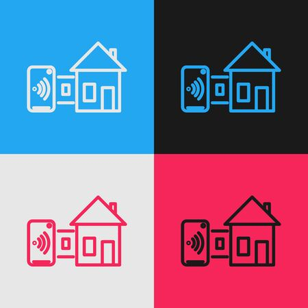 Color line Smart home icon isolated on color background. Remote control. Vintage style drawing. Vector Illustration