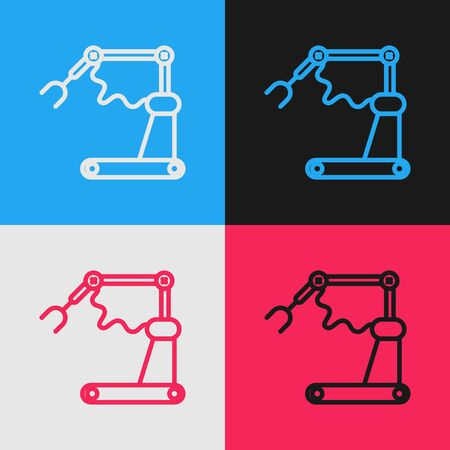 Color line Industrial machine robotic robot arm hand factory icon isolated on color background. Industrial robot manipulator. Vintage style drawing. Vector Illustration