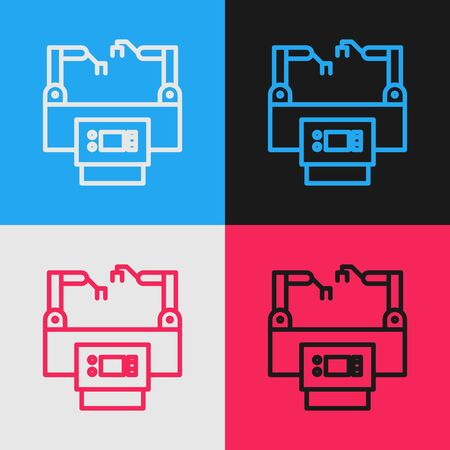 Color line Assembly line icon isolated on color background. Automatic production conveyor. Robotic industry concept. Vintage style drawing. Vector Illustration