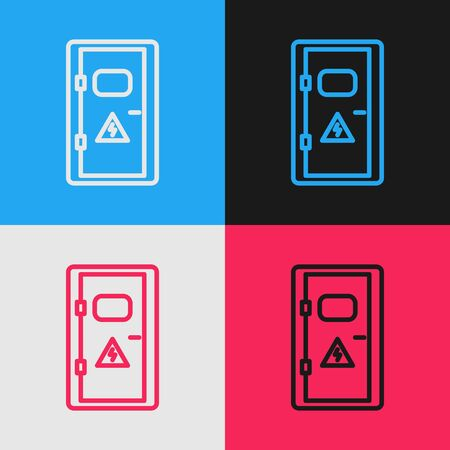 Color line Electrical cabinet icon isolated on color background. Vintage style drawing. Vector Illustration
