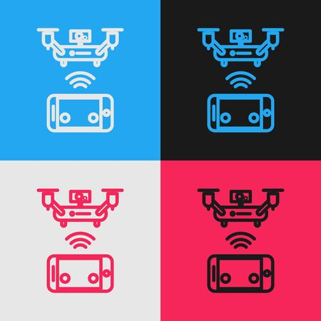 Color line Remote aerial drone with a camera taking photography or video recording icon isolated on color background. Vintage style drawing. Vector Illustration