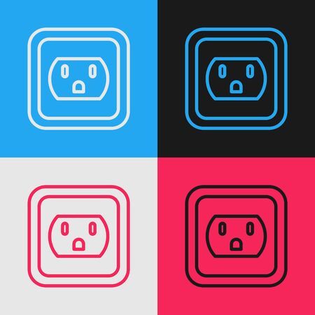 Color line Electrical outlet in the USA icon isolated on color background. Power socket. Vintage style drawing. Vector Illustration Stock Illustratie