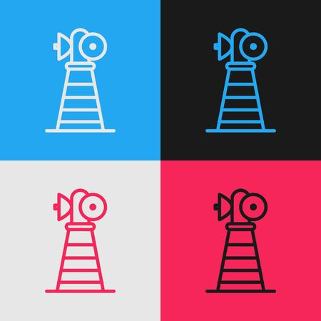 Color line Antenna icon isolated on color background. Radio antenna wireless. Technology and network signal radio antenna. Vintage style drawing. Vector Illustration