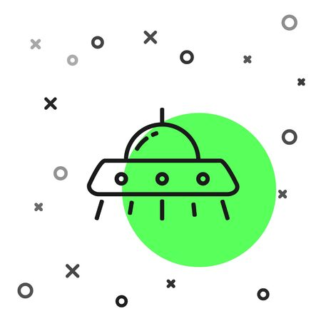 Black line UFO flying spaceship icon isolated on white background. Flying saucer. Alien space ship. Futuristic unknown flying object. Vector Illustration Illustration