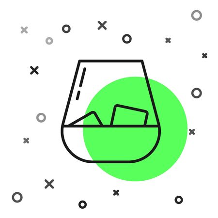 Black line Glass of whiskey and ice cubes icon isolated on white background. Vector Illustration