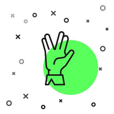 Black line Vulcan salute icon isolated on white background. Hand with vulcan greet. Spock symbol. Vector Illustration