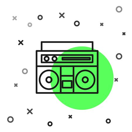Black line Home stereo with two speakers icon isolated on white background. Music system. Vector Illustration Иллюстрация