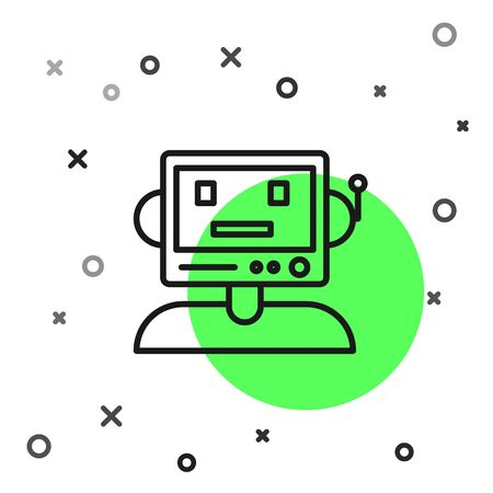 Black line Robot icon isolated on white background. Vector Illustration