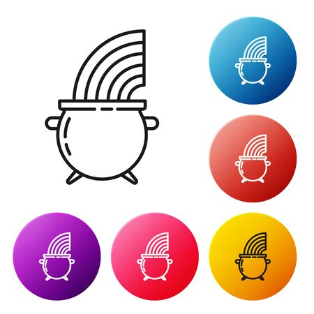 Black line Witch cauldron and rainbow icon isolated on white background. Happy Saint Patricks day. Set icons colorful circle buttons. Vector Illustration