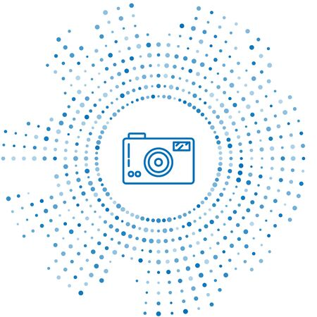 Blue line Photo camera icon isolated on white background. Photo camera icon. Abstract circle random dots. Vector Illustration