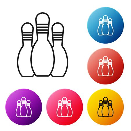 Black line Bowling pin icon isolated on white background. Set icons colorful circle buttons. Vector Illustration Illustration
